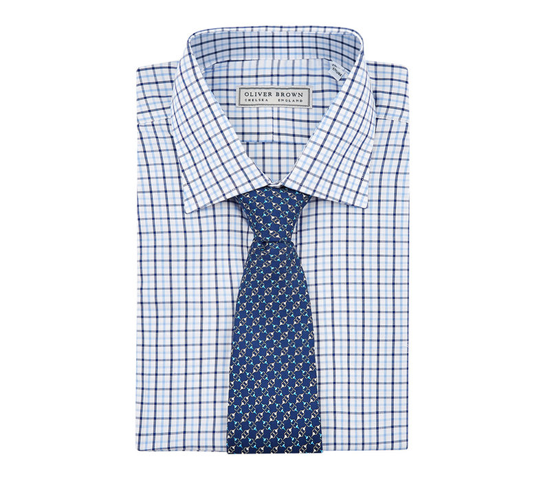 Windowpane Checked Shirt - Blue/Navy