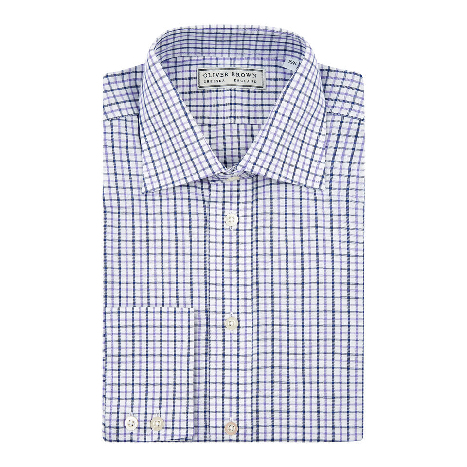 Windowpane Checked Shirt - Navy/Lilac