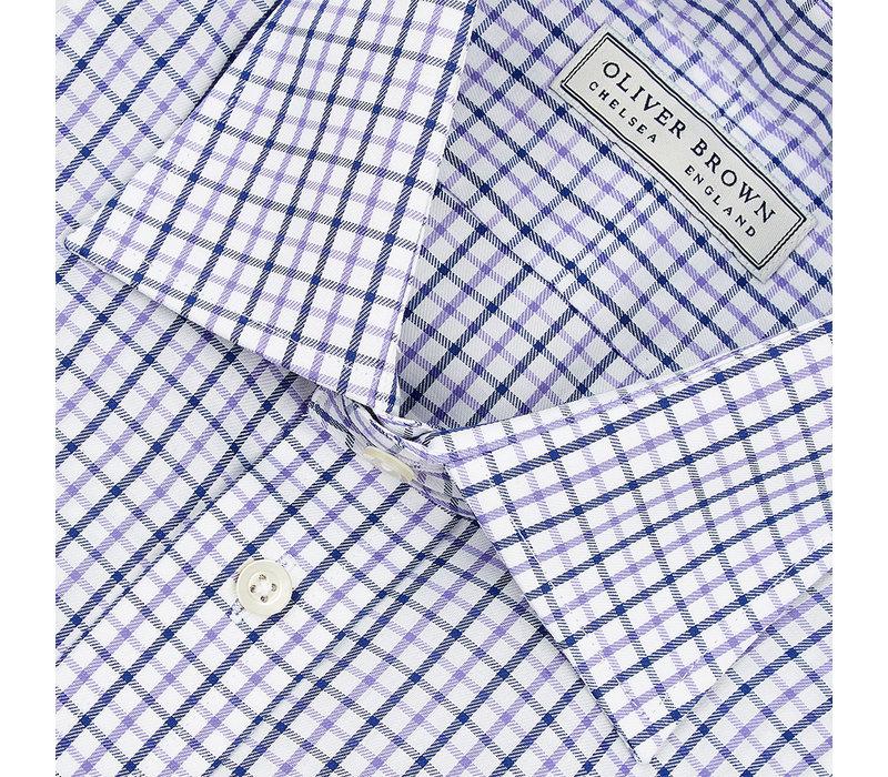 Windowpane Checked Shirt - Navy/Lilac