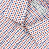 Windowpane Checked Shirt - Orange/Blue