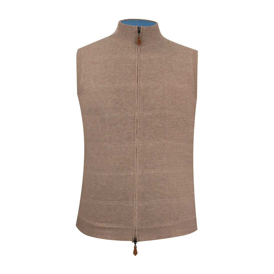 Berrow Cotton Cashmere Gilet - Beige/Blue