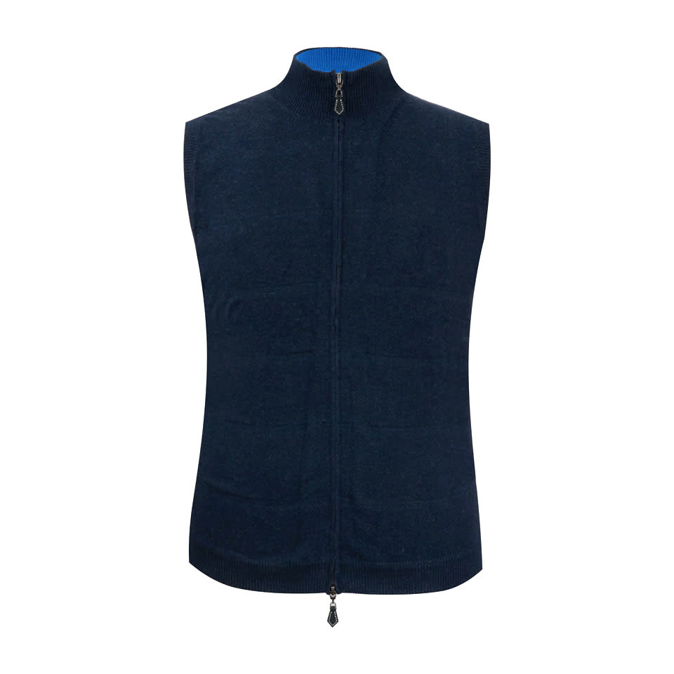 Berrow Cotton Cashmere Gilet - Navy/Regatta