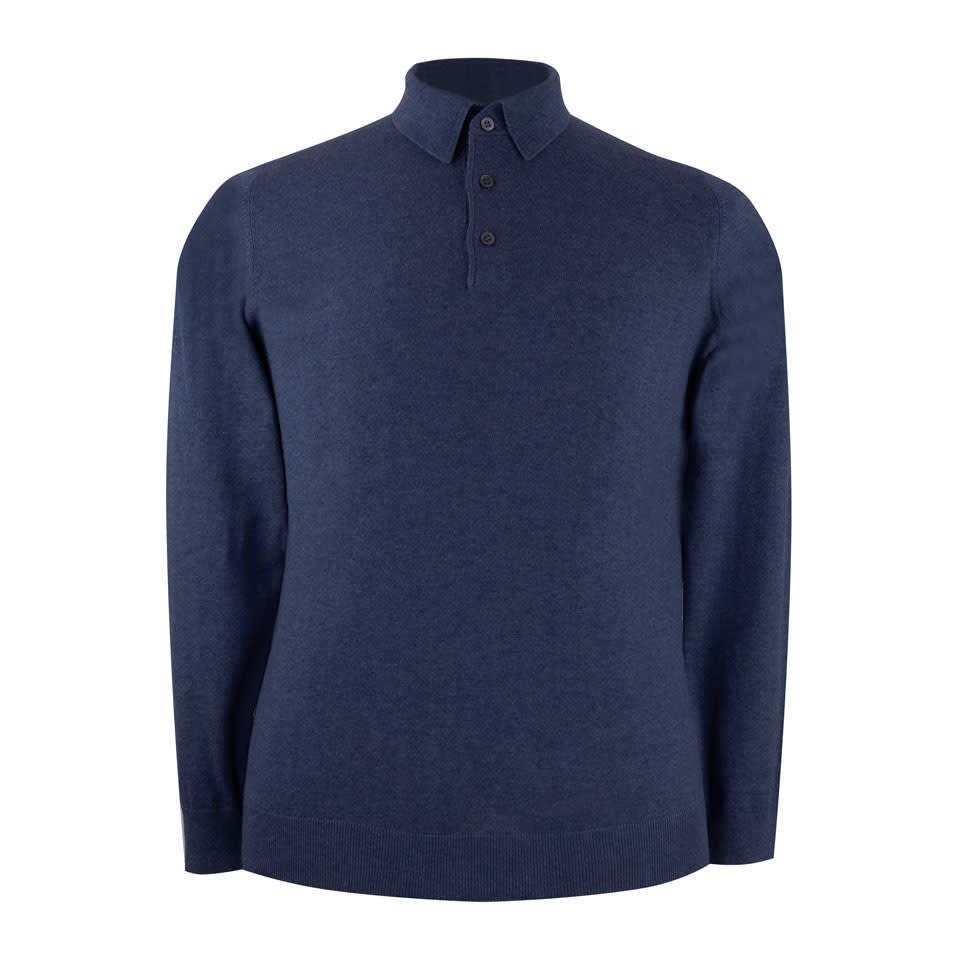 Pentlow Cotton Cashmere Polo Shirt - Navy