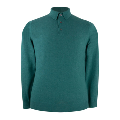 Pentlow Cotton Cashmere Polo Shirt - Moorland