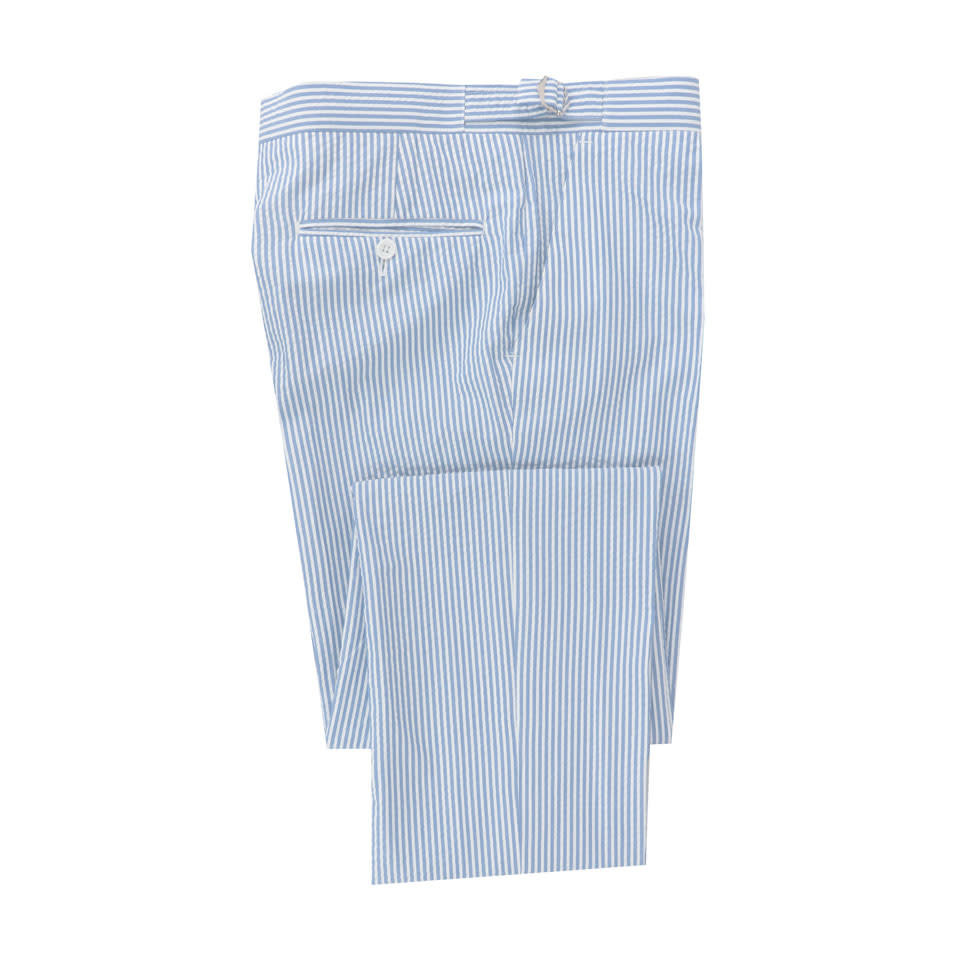 Pleated Seersucker Trousers - Sky