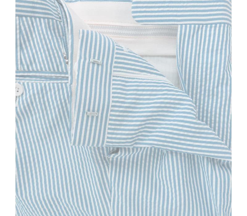 Pleated Seersucker Trousers - Sky