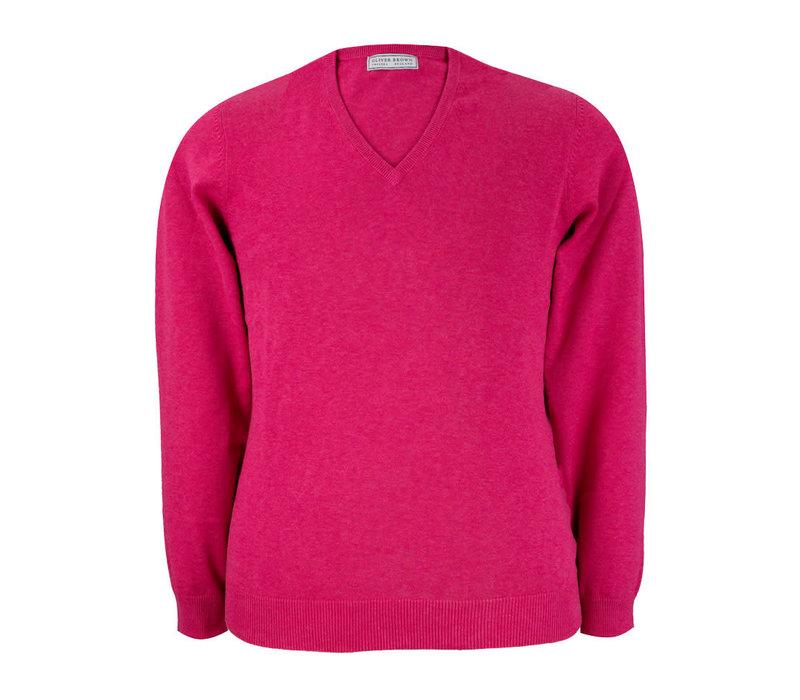 Rothwell Cotton Cashmere V Neck Jumper - Blush