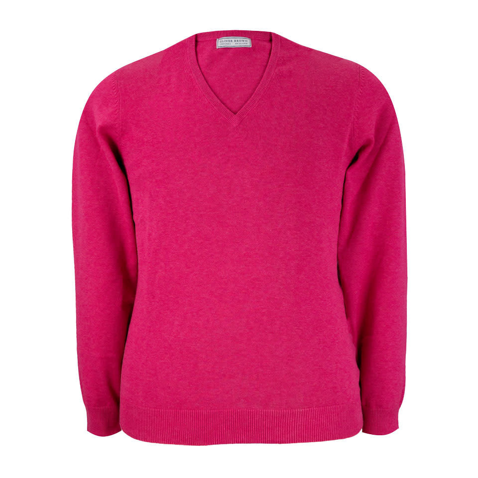 Rothwell Cotton Cashmere V Neck Jumper - Blush