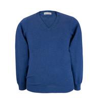 Rothwell Cotton Cashmere V Neck Jumper - Indigo