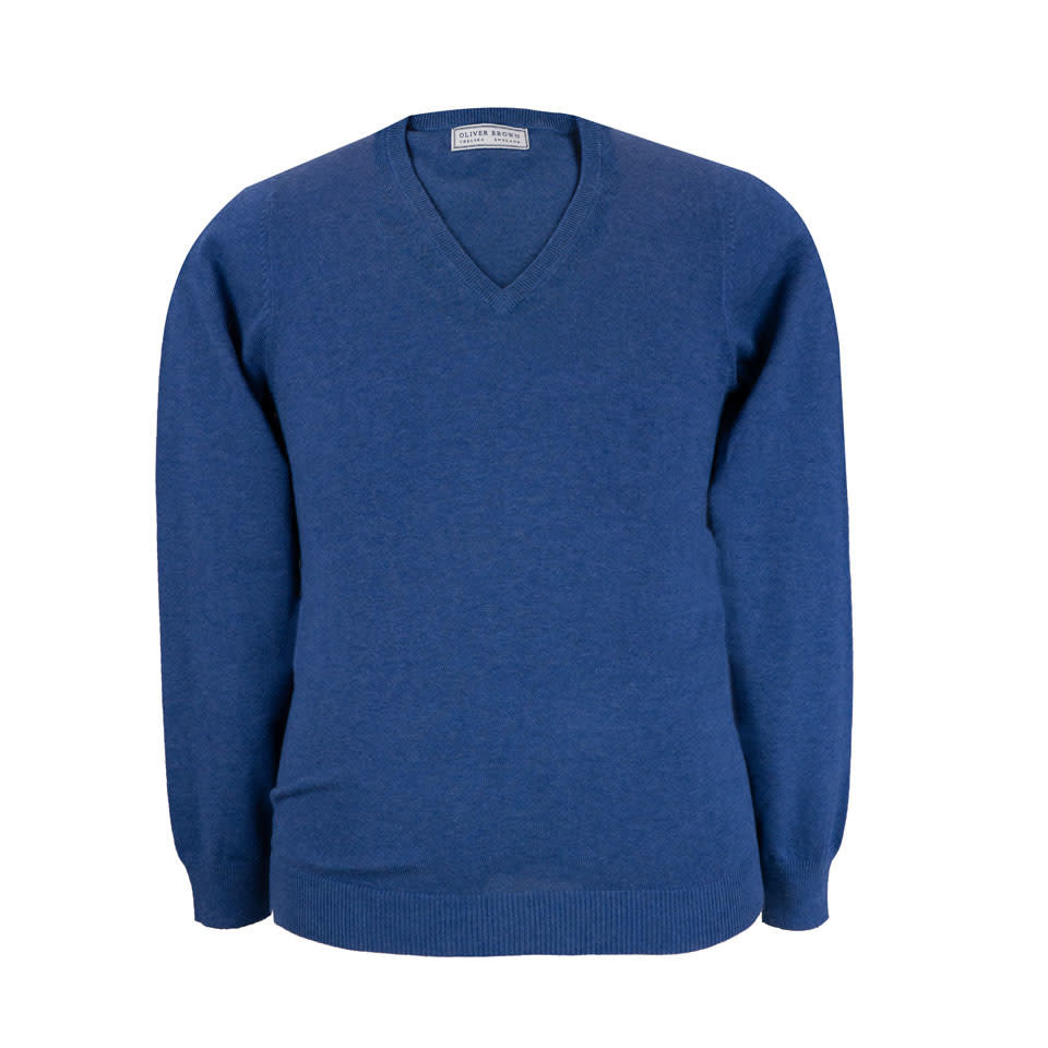 Rothwell Cotton Cashmere V Neck Jumper - Indigo