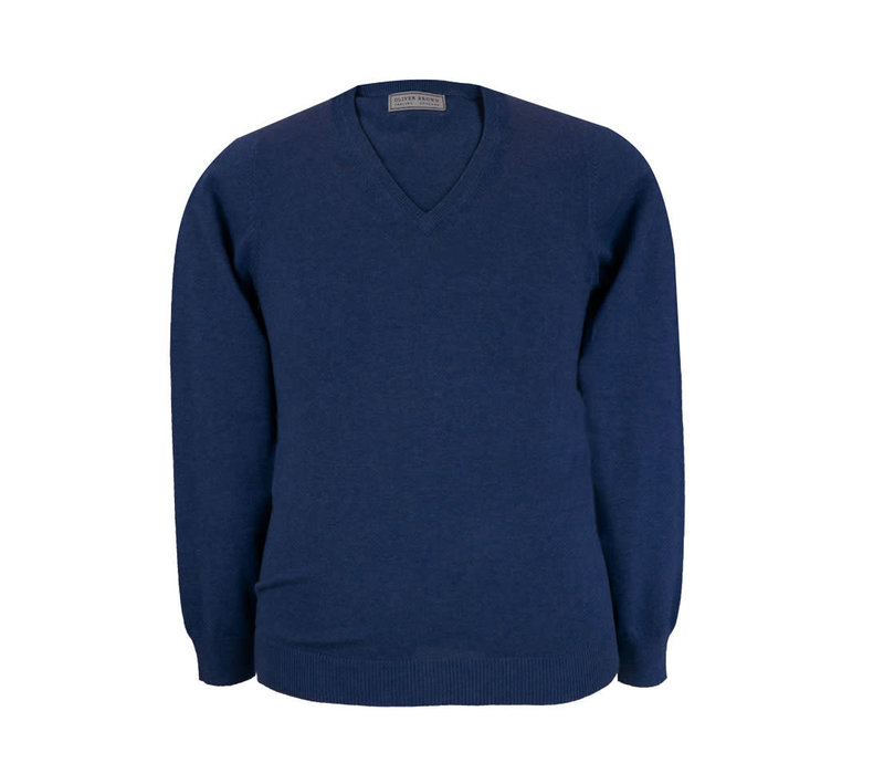 Rothwell Cotton Cashmere V Neck - Navy
