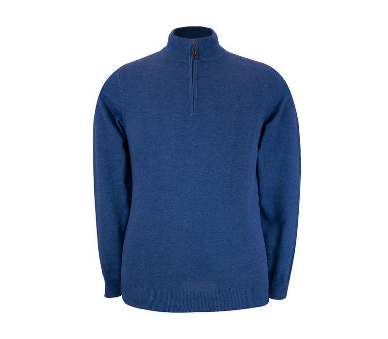Selhurst Cotton Cashmere Half Zip Jumper - Indigo
