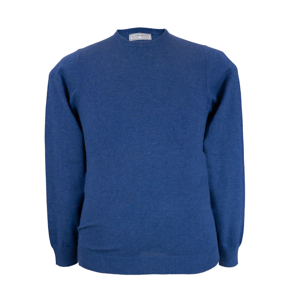Leysmill Cotton Cashmere Crew Neck Jumper - Indigo