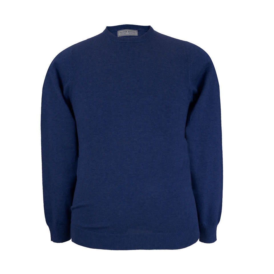 Leysmill Cotton Cashmere Crew Neck Jumper - Navy