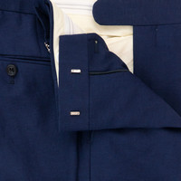Flat Front Navy Linen & Wool Trousers