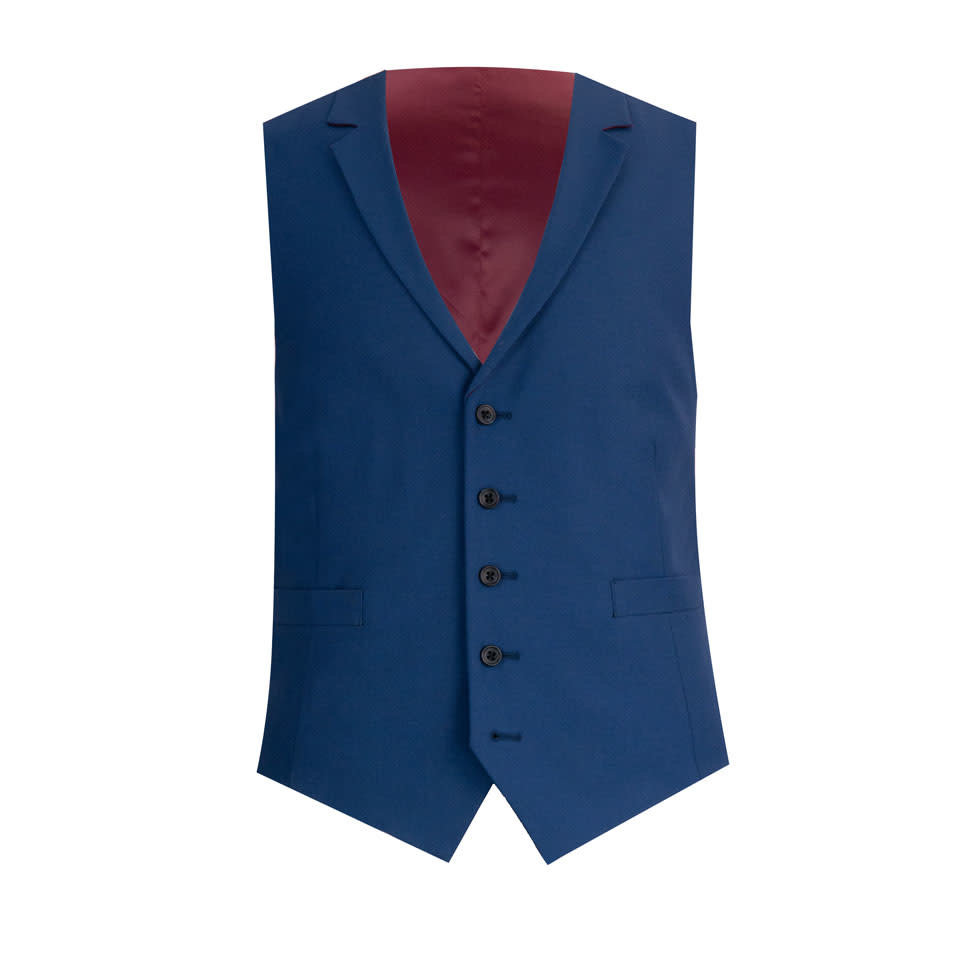 Single Breasted Waistcoat - Royal Blue Wool