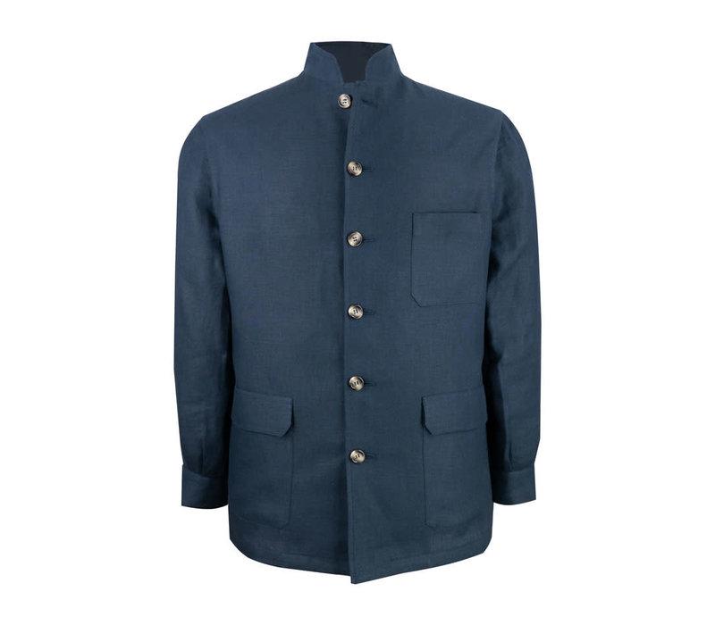 Teba Mandarin Jacket - Navy Linen