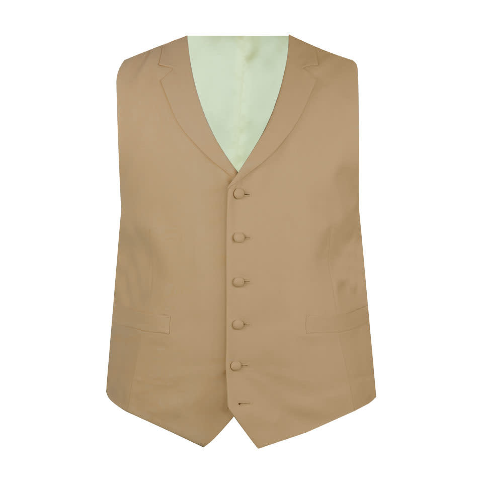 Ex-Rental Single Breasted Wool Waistcoat - Buff