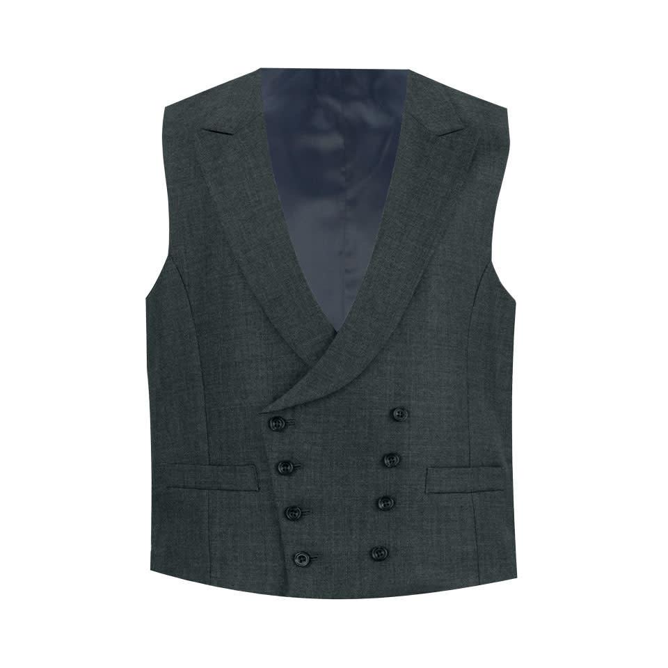 Double Breasted Waistcoat - Plain Grey Wool