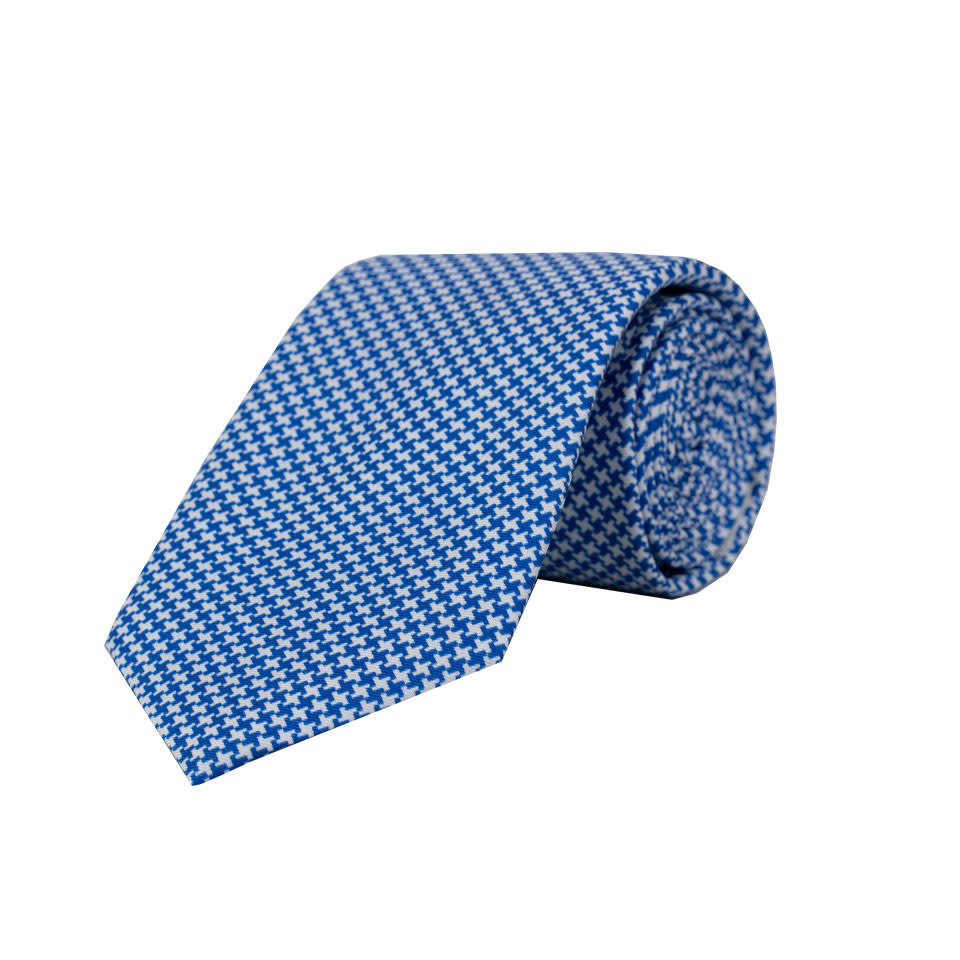 Silk Tie - Houndstooth Printed Blue