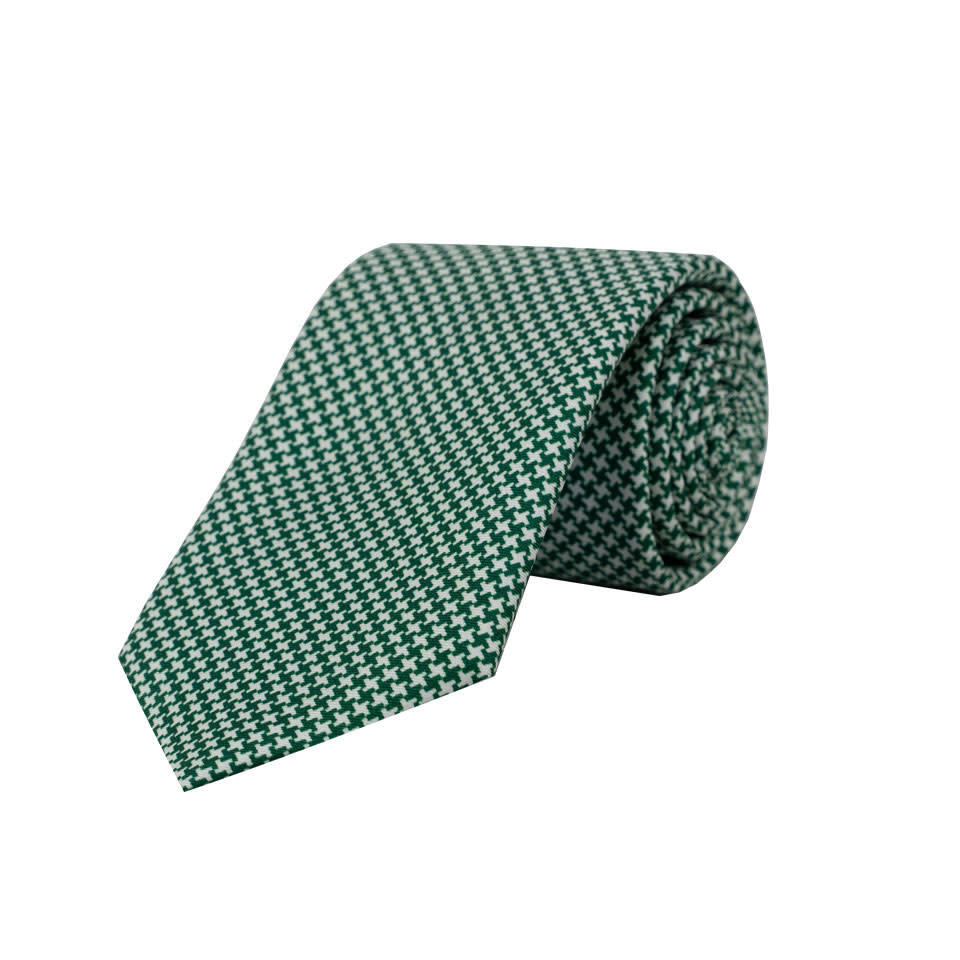 Silk Tie - Houndstooth Printed Green