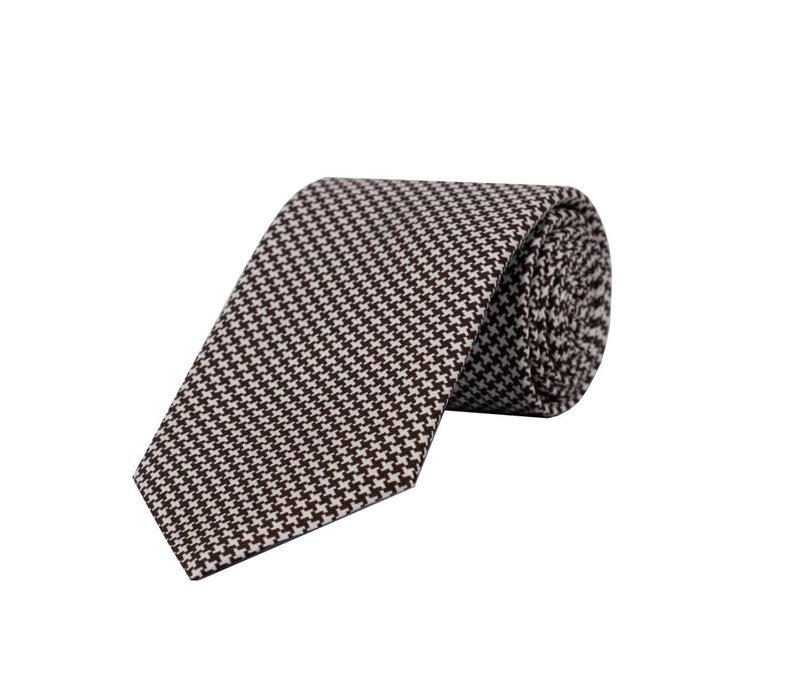 Silk Tie - Houndstooth Printed Brown