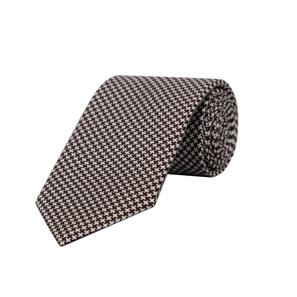 Silk Tie - Houndstooth Printed Brown