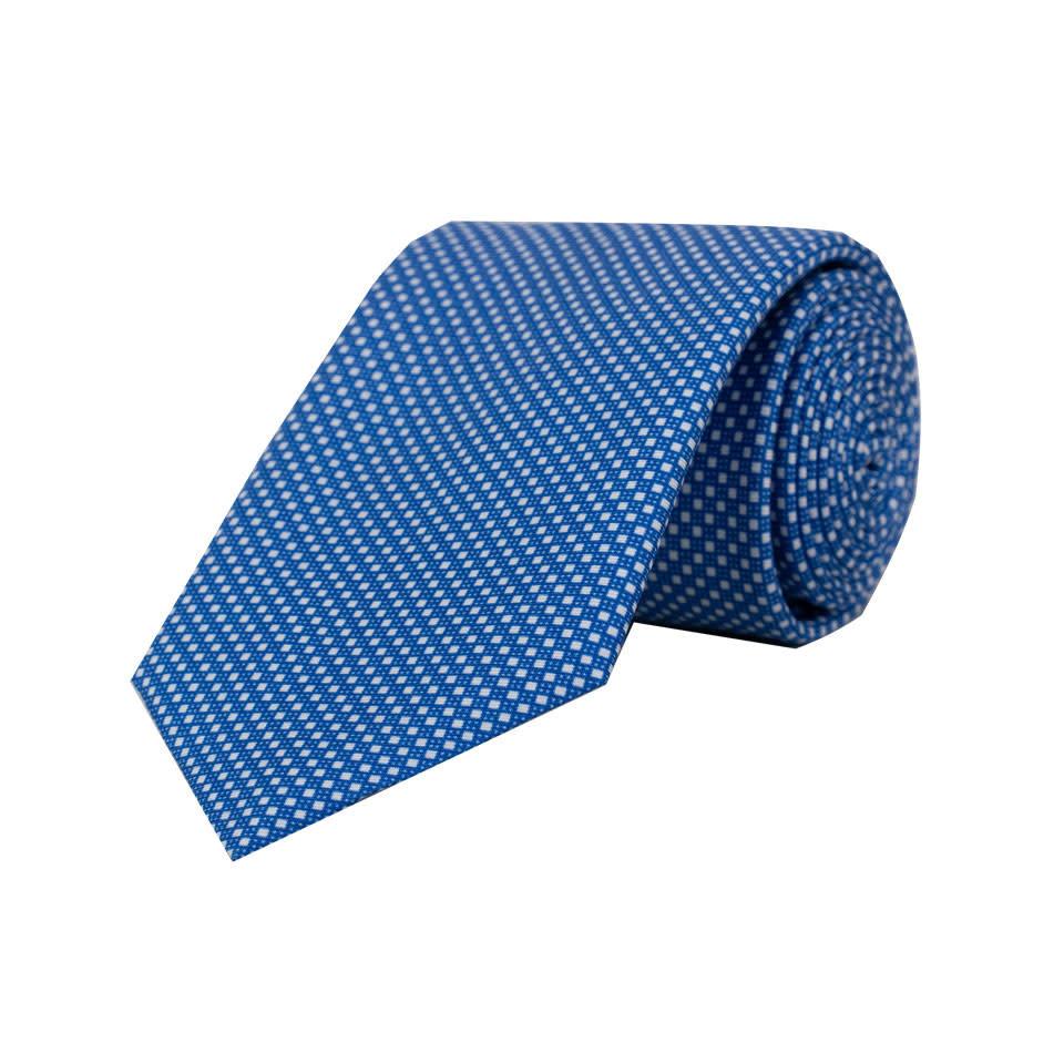 Silk Tie - Blue Neat Geometric
