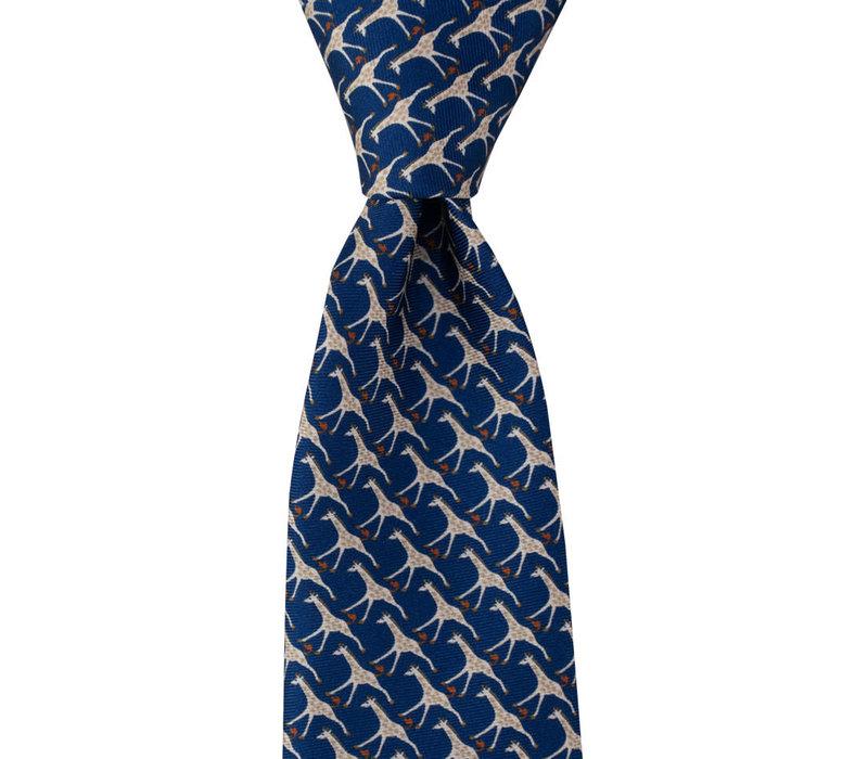 Silk Tie - Giraffe Navy 2019