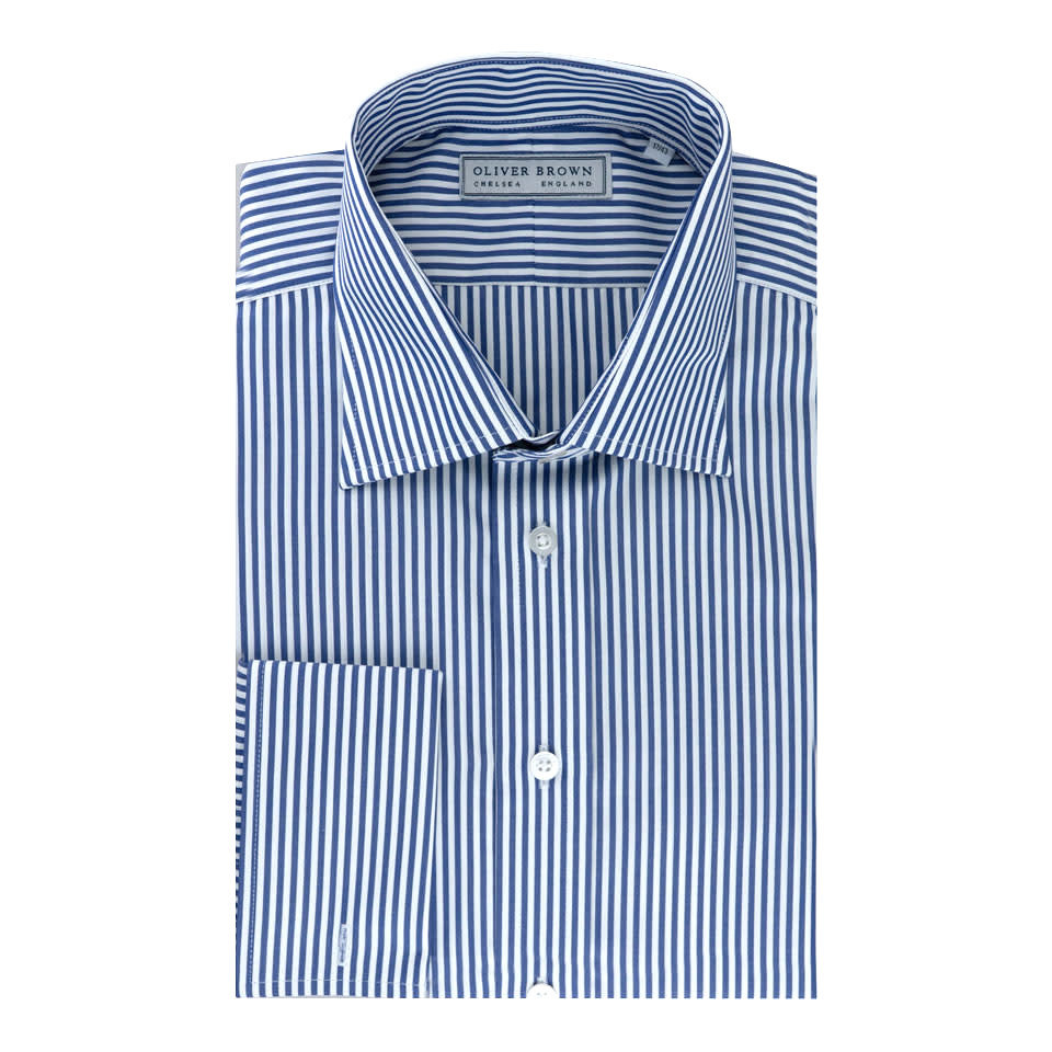 Cotton Stripe Shirt - Navy