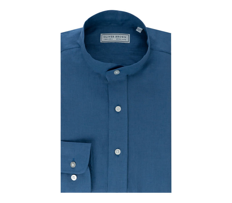 Mandarin Low Collar Linen Shirt - Aqua
