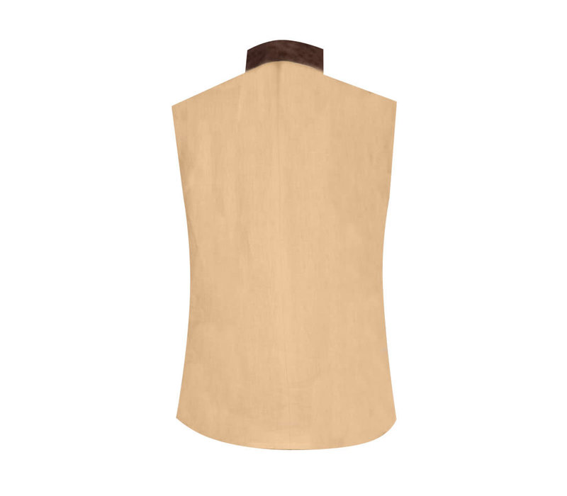 Linen Gilet - Lemon With Suede Trim