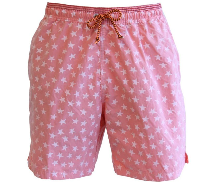 Mens Swimming Shorts, Stars - Pink