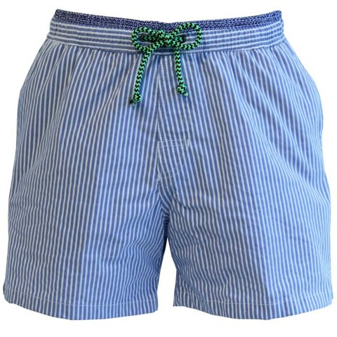 Mens Swimming Shorts, Striped - Blue and White