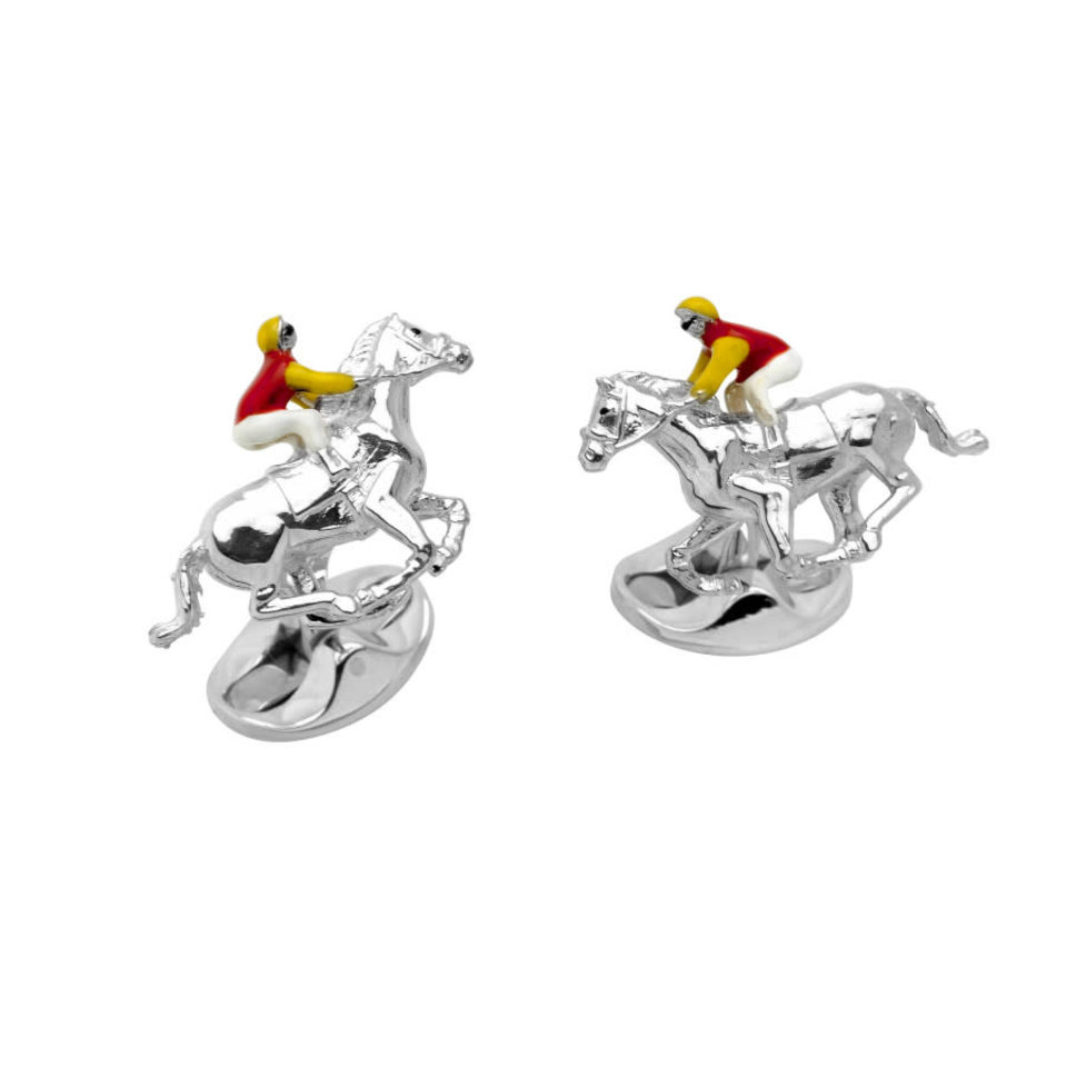 Sterling Silver Red and Yellow Horse and Jockey Cufflinks