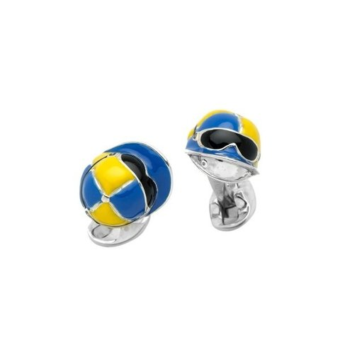 Jockey Cap Cufflink - Yellow & Blue
