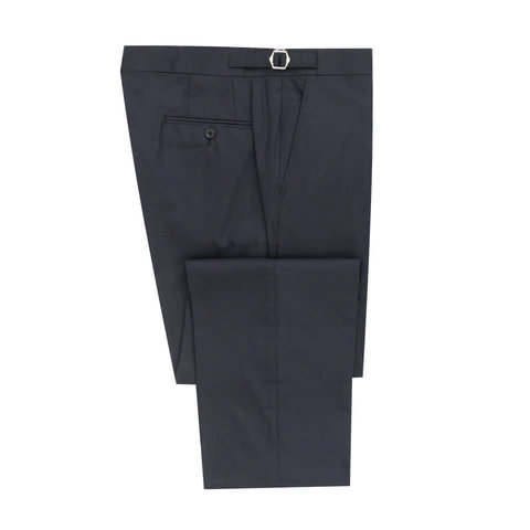 Flat Front Trousers - Dusky Navy Cotton