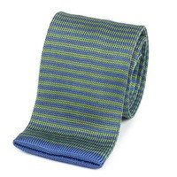 Providence Silk Knitted Tie - Green/Navy
