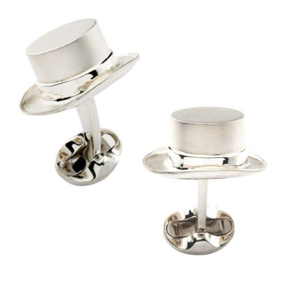 Sterling Silver Top Hat Cufflinks