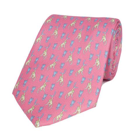 Silk Tie, Monkey - Pink/Blue