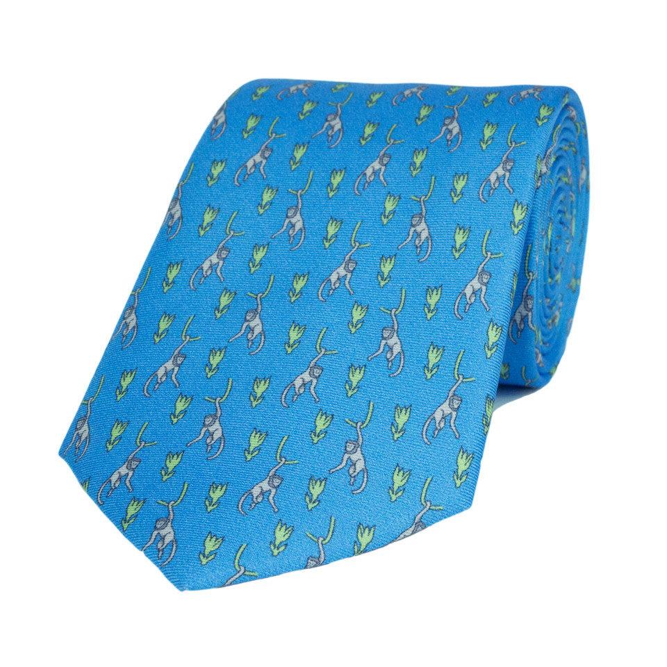 Silk Tie, Monkey - Light Blue/Green