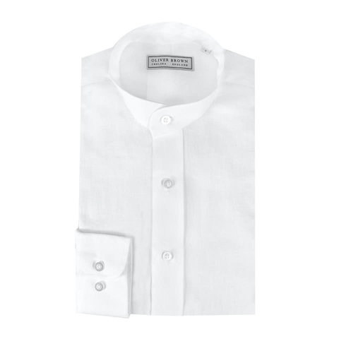 Mandarin Low Collar Linen Shirt - White