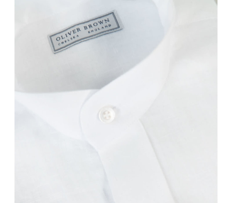 Mandarin Low Collar Linen Shirt - White