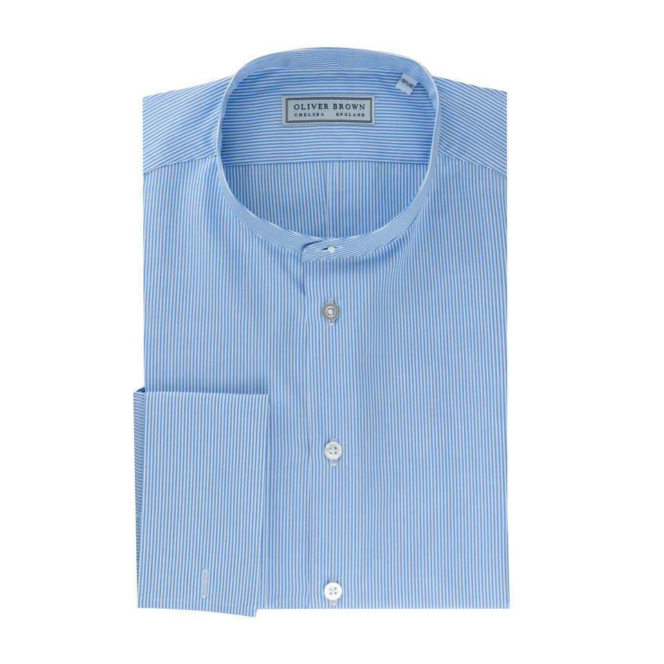 Collarless Shirt - Blue Stripe