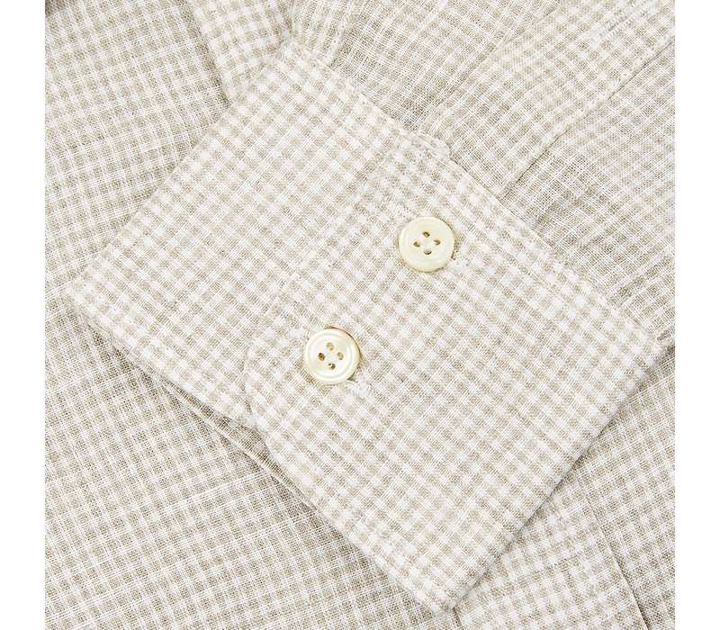 Linen Shooting Shirt, Beige Check