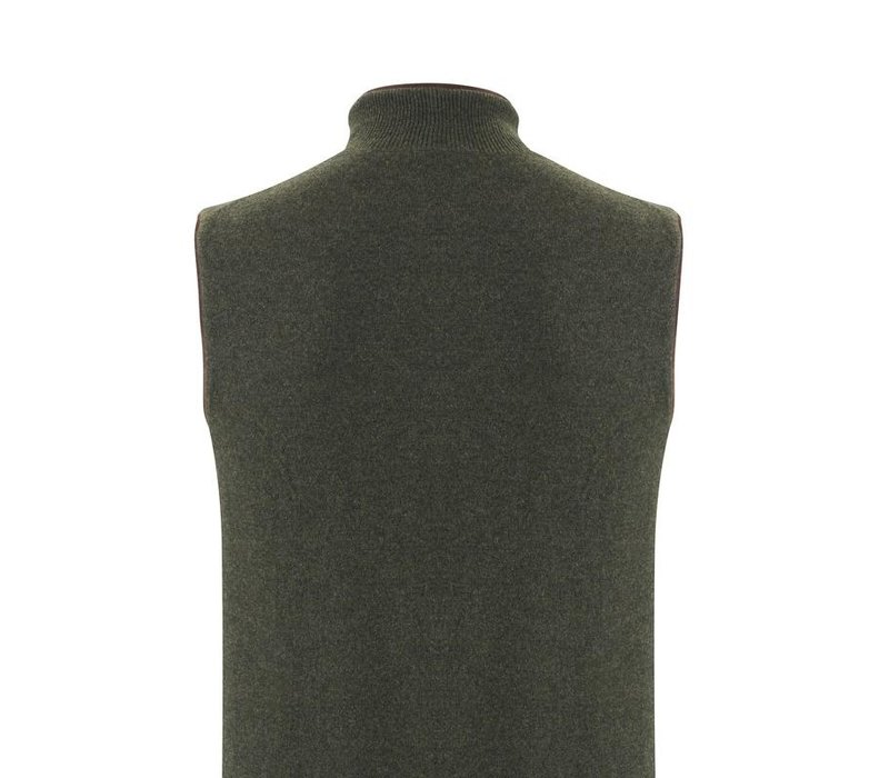Cashmere Reversible Gilet - Dark Olive & Plum