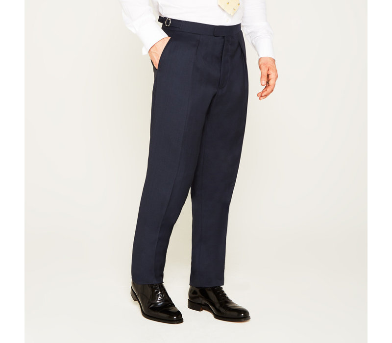 Pleated Suit Trousers - Navy POW, made with Loro Piana Cloth