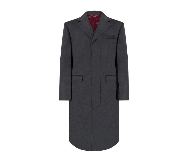 Single Breasted Overcoat - Grey Cashmere Blend
