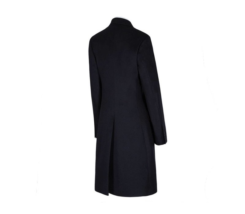 Double Breasted Cashmere Blend Overcoat - Navy