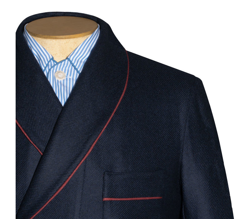 Dressing Gown - Navy Cashmere Twill